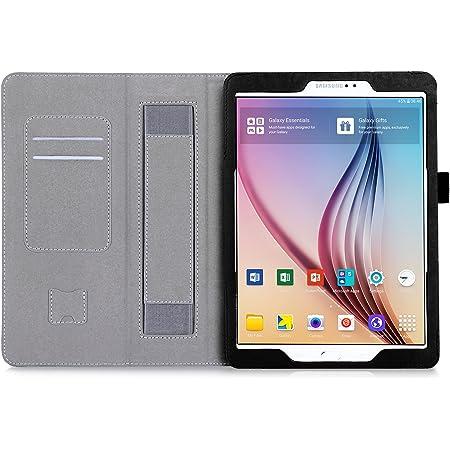Galaxy Tab S2 9.7 Funda,ISIN Folio Funda Case Cover Carcasa con Stand Función para Samsung Galaxy Tab S2 9.7 SM-T810 T813 T815 T817 T819N Android Tablet con Correa para la Mano,Soporte para lápiz táctil y Ranuras para Tarjetas (Negro)
