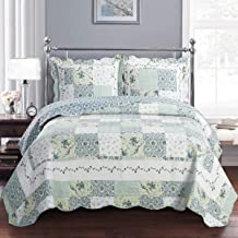 Deluxe Brea Oversized Bedspread Set. Beautiful Quilt is Decorated with Patches of Various Floral Designs. Creates The Relaxing ambience of a Resort in Your Bedroom. Bed Cover Quilt 3 Pieces King Set