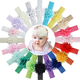 Qearl 20PCS Baby Girls Chiffon Flower Headbands Soft Hair Band Hair Accessories for Infants Newborn Toddler