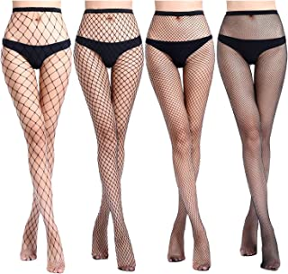 Womens High Waist Fishnet Tights Suspenders Pantyhose Thigh High Stockings Black