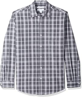 Men's Regular-Fit Long-Sleeve Plaid Casual Poplin Shirt