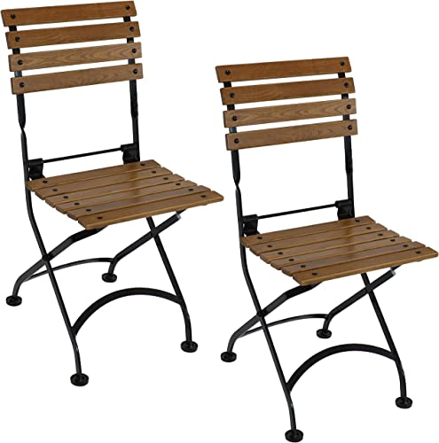 wholesale Sunnydaze European Chestnut Wooden Folding Small Bistro online Dining Side Chair - Portable, Compact Side Chair - for Indoor or Outdoor Use - Patio, Deck, Balcony, Camping and Spare 2021 Seating - Set of 2 outlet online sale