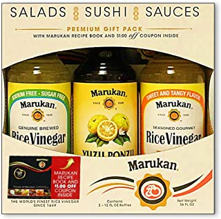 Marukan Premium Gift Pack - 3 Count, One 12 Ounce Bottle Each of: Yuzu Ponzu Soy Dressing, Genuine Brewed Rice Vinegar, Se...