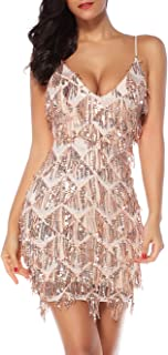 meilun Womens Sequin Fringe 1920s Flapper Inspired Party Dance Dress