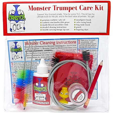 Monster Trumpet/Cornet Care and Cleaning Kit   Valve Oil, Slide Grease, and More! Everything You Need to Take Care of and Clean Your Trumpet!