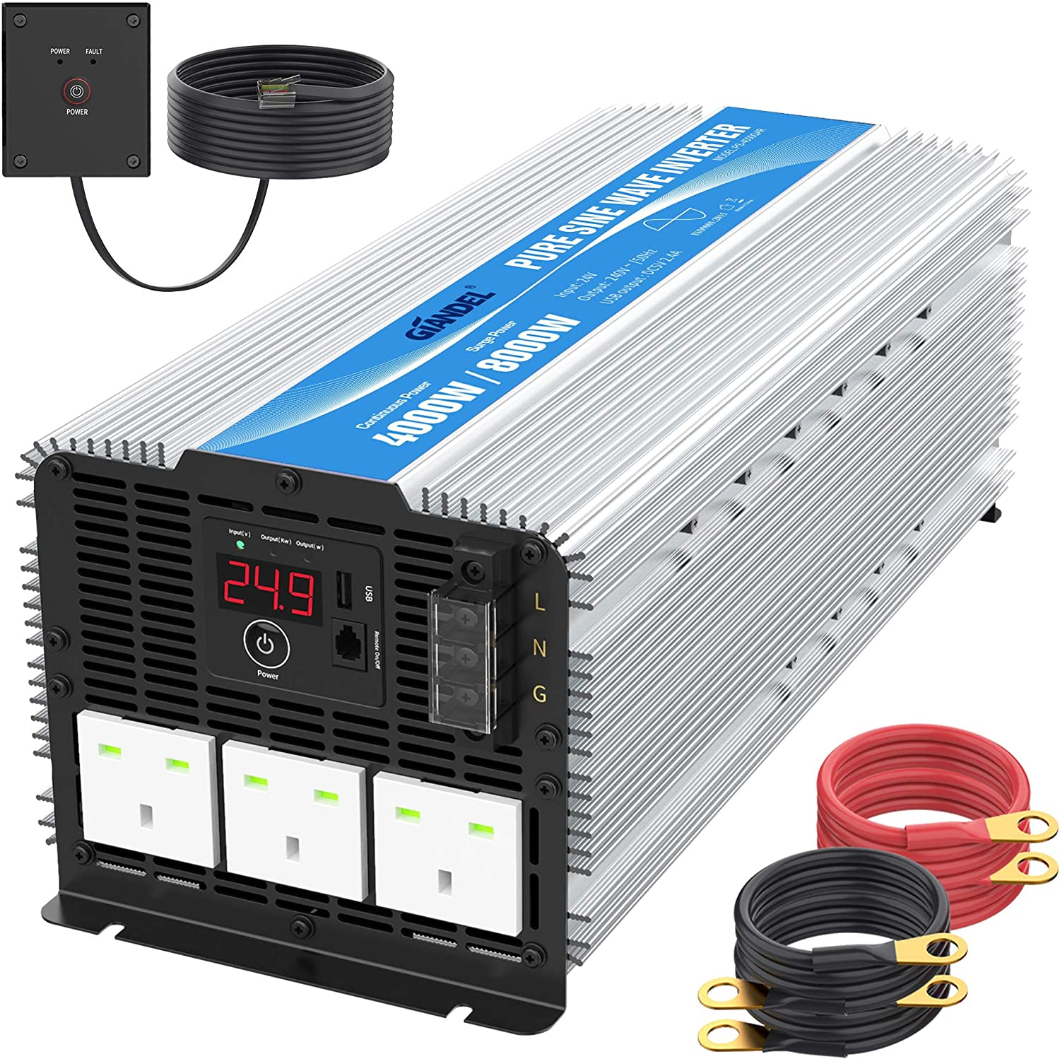 GIANDEL 4000W Heavy Duty Pure Sine Wave Power Inverter DC12V to AC240V with 3 AC Outlets with Remote Control 2.4A USB and LED Display