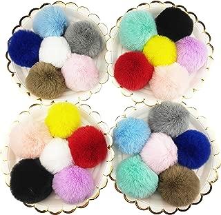 24 Pcs Faux Rex Fur Balls Artificial Rabbit Pom Pom Balls with Rubber Band for DIY Hats Shoes Key Chains Handbags Pendants, 8cm, 12 Colors
