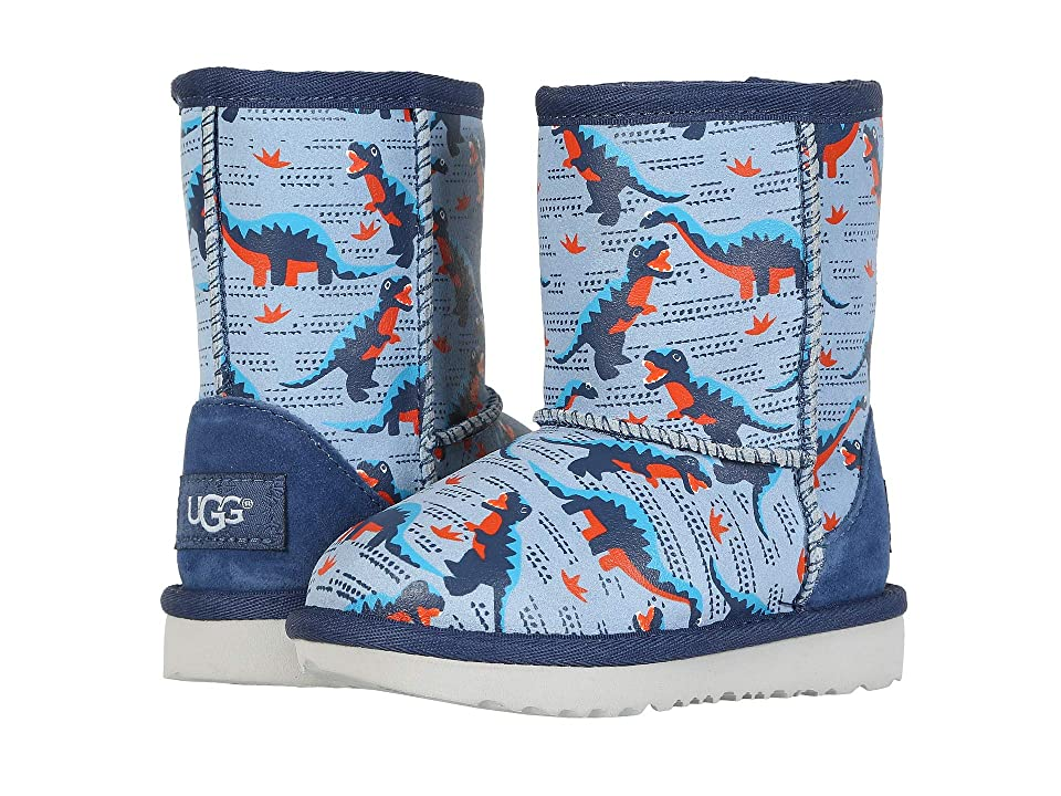 UGG Kids Classic Short II Desert Dino (Toddler/Little Kid) (Ballad Blue) Boys Shoes