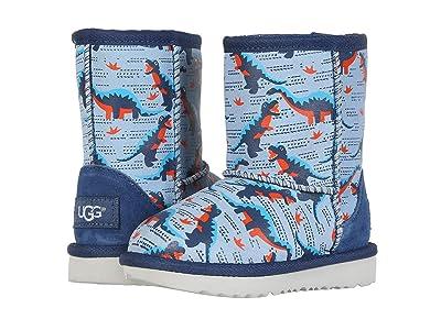 UGG Kids Classic Short II Desert Dino (Toddler/Little Kid) (Ballad Blue) Boys Shoes