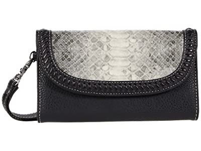 M&F Western Python Clutch Wallet (Grey/Black Python Print) Handbags