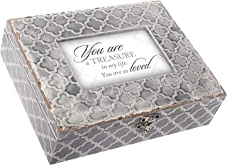 Cottage Garden You are A Treasure Embossed Grey Moroccan Music Box Plays Wind Beneath My Wings