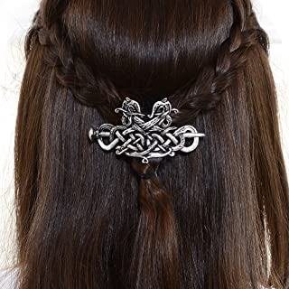 Large Viking Celtic Hair Clip-Wedding Hair Accessories Viking Dragon Hair Pins Runes Hair Clip Amulet Hair Jewelry Hairpin Celtic Knot Hair Barrettes Sterling Silver Plated Hair Stick for Women