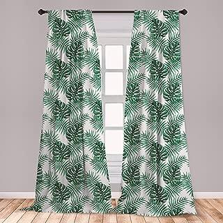 Ambesonne Leaf 2 Panel Curtain Set, Palm Mango Banana Tree Leaves in Tropical Wild Safari Island Jungle Image Artwork, Lightweight Window Treatment Living Room Bedroom Decor, 56