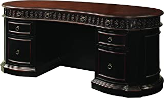 Rowan Oval Double Pedestal Executive Desk Black and Chesnut