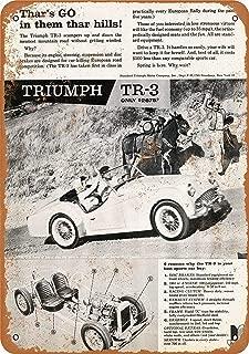 LoMall 12 x 16 Metal Sign - Triumph TR-3 Sports Car - Vintage Wall Decor Art