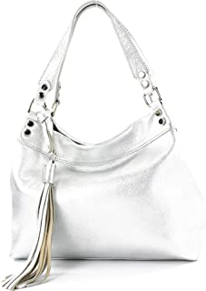 modamoda de - T201 - ital. Damen Schultertasche aus Echtleder