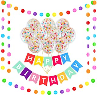 Happy Birthday Rainbow Banner Decoration Set | 16 Pack Bright Confetti Balloons Pre-Filled | 16FT Colorful Garland