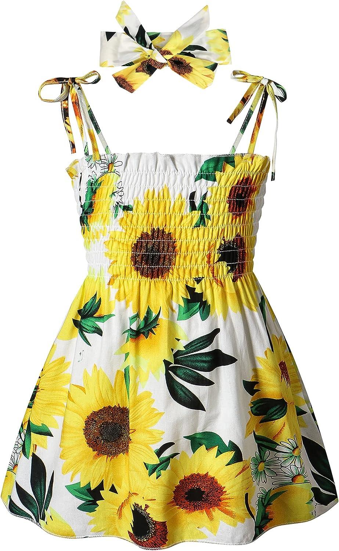 Easisim Toddler Inexpensive Baby Girls Dress Straps New mail order Sleeveless Sunflo Casual