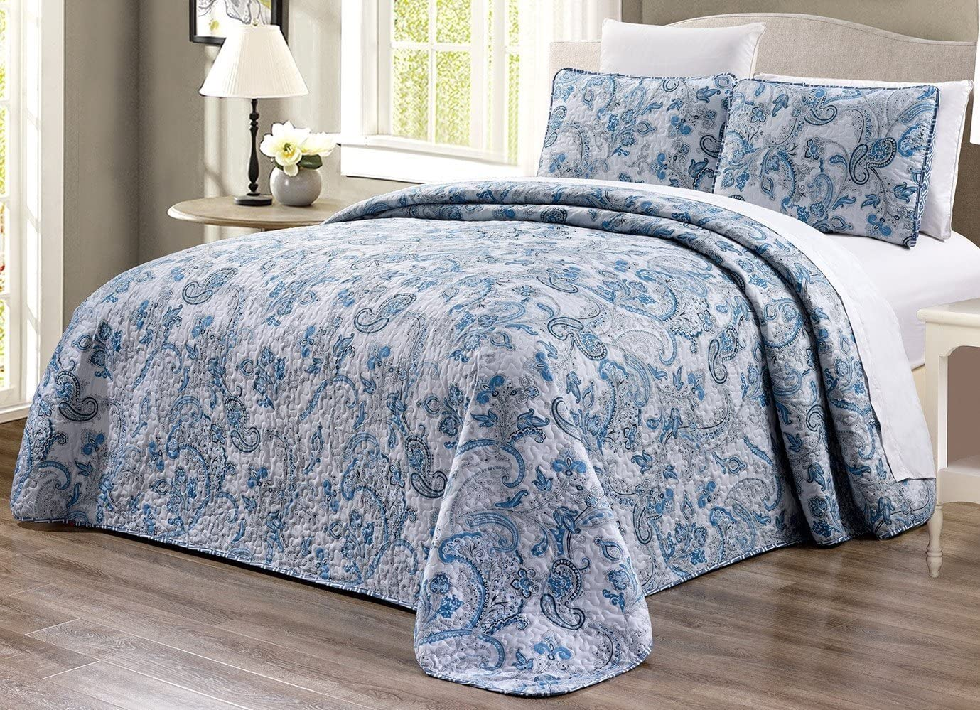 3 Piece Oversize 115 X 95 Fine Printed Prewashed All Season Quilt Set Reversible Bedspread Coverlet King Size Bed Cover Grey Black White Blue Paisley Kitchen Dining