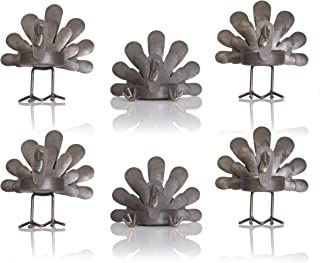 Besti Set of 6 Turkey Tealight Candleholders - Rustic Home Thanksgiving Decor - Metal Holders for Real or LED Tea Light Candles - Holiday Decorations for Mantle, Window or Table Setting Centerpiece