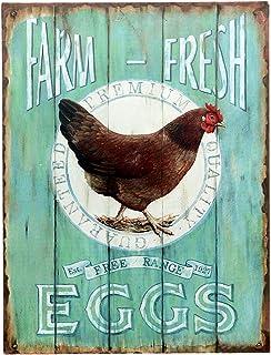 Barnyard Designs Farm Fresh Free Range Eggs Retro Vintage Tin Bar Sign Country Home Decor..