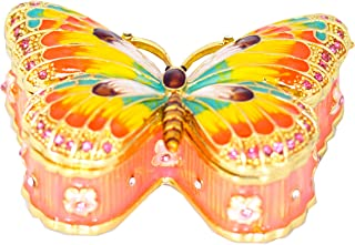 VI N VI Butterfly Jewelry Box Trinket Box with Rhinestones Beautiful Gift Hand Painted Brightly Colored