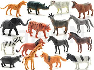 SaleON 16pc Wildlife Model Children Puzzle Early Education Gift Mini Jungle Animal Toy Set Realistic Animal Figures Toys f...