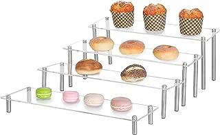 MyGift 4-Tier Rectangular Clear Acrylic Cupcake Dessert Display Stand Riser