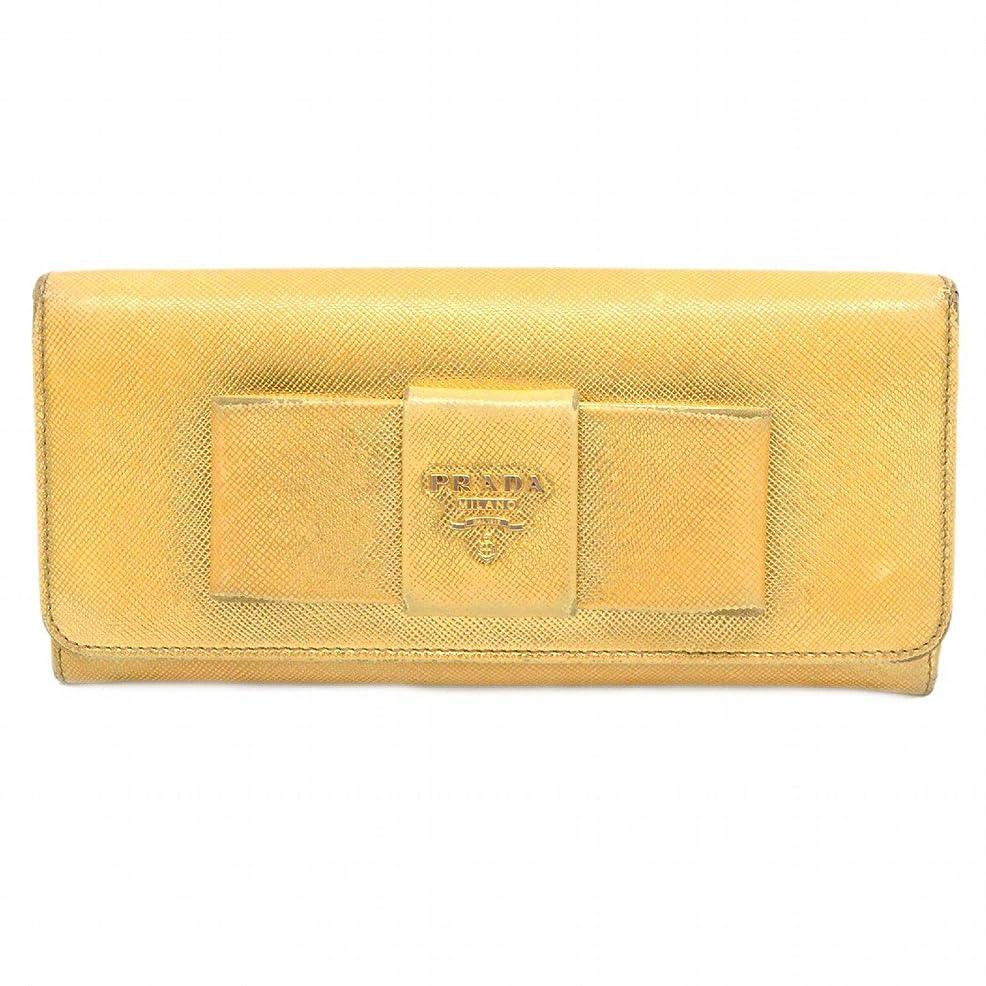 膿瘍思い出させる管理しますプラダ PRADA サフィアーノ レザー リボン モチーフ 二つ折 長財布 ファスナー ジップ 革 ゴールド ゴールド金具 中古