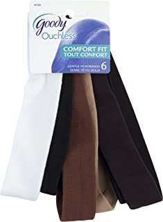 Goody Ouchless Thin Nylon Headwraps, 6 Count (Pack of 3)