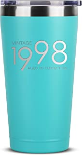 1998 21st Birthday Gifts for Women Men | 16 oz Mint Insulated Stainless Steel Tumbler w/Lid | Vintage 21 Year Old Best Gift Present Ideas for Him Her | Tumblers Party Decorations Supplies Presents