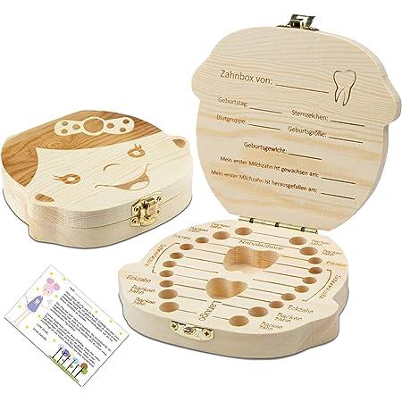 FTFSY Portugiesische Zahnboxen Organizer f/ür Milchz/ähne Speichern Holz Aufbewahrungsbox Franz/ösisch Jungen