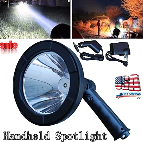 discount 5 Inch LED Handheld Spotlight Portable Light high quality Hunting Camping Shooting T6 12V Rechargeable Lamp Bright with Adaptor Charger online - 2 Year Warranty online sale