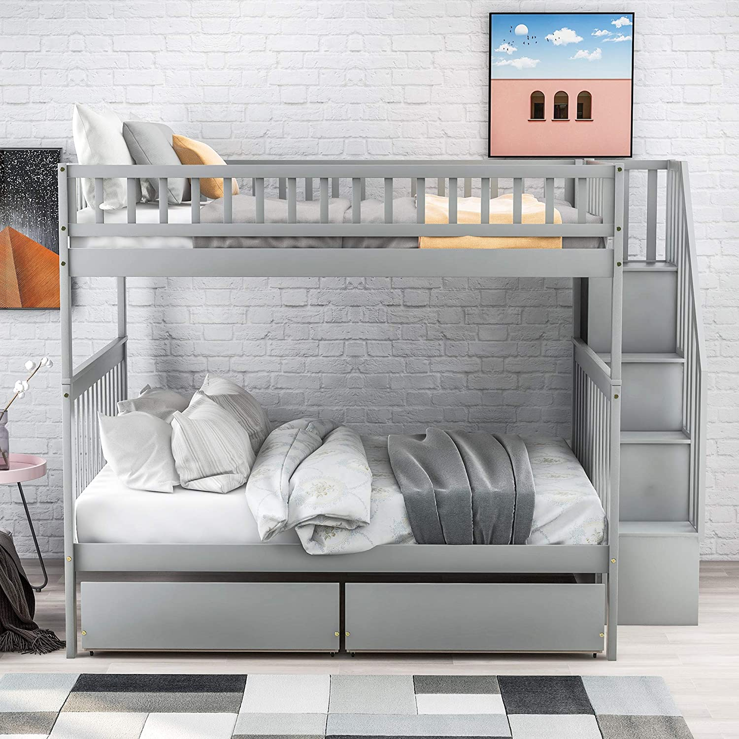 Full 新品 Over Bunk Bed with Drawers 1着でも送料無料 Storage Two Wood and