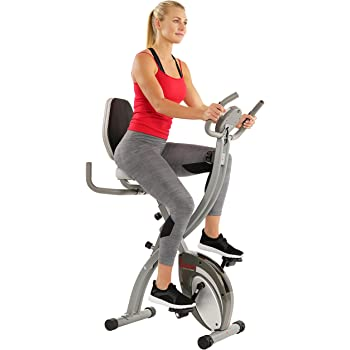 Sunny Health & Fitness Comfort XL Ultra Cushioned Seat Folding Exercise Bike with Device Holder, Gray - SF-B2721