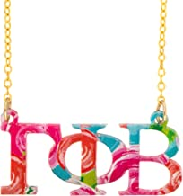Gamma Phi Beta Sorority Floating Necklace with Letters Floral Pattern Necklace Adjustable Chain Gamma phi