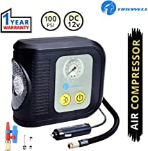 TIREWELL TW-7002 12V Portable Tyre Inflator Analog Tire Air Compressor with LED Light and 3 Different Nozzles (100 PSI)