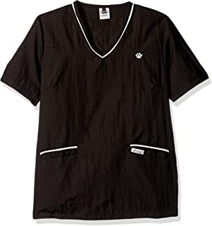 Top Performance  Contrast-Trim V-Neck Grooming Tops — Fashionable and Versatile Tops for Professional Groomers - Small, Black/White