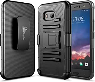 NageBee Belt Clip Holster Case Compatible with HTC U11 [Heavy Duty] Armor Shock Proof Dual Layer [Swivel Belt Clip] Holster with [Kickstand] Combo Rugged Case (Black)
