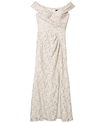 Alex Evenings Long Off-the-Shoulder Fit-and-Flare Lace Dress (Taupe) Women