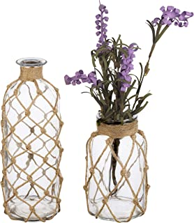 MyGift Coastal Style Decorative Glass Bottles with Rope Wrapping, Set of 2