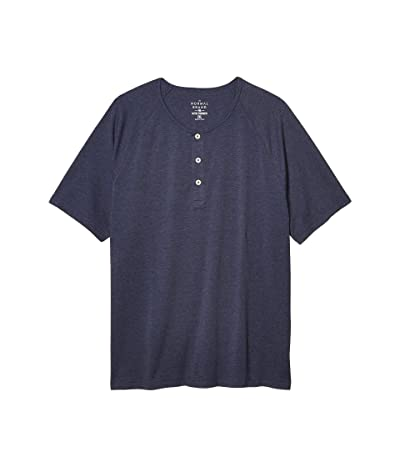 The Normal Brand Short Sleeve Active Puremeso Henley (Navy) Men