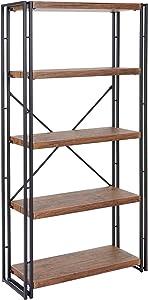Mendler Bibliothèque Dohna, étagère indépendante, 165x80cm, Structure 3D, 5 Niveaux, chêne Sauvage