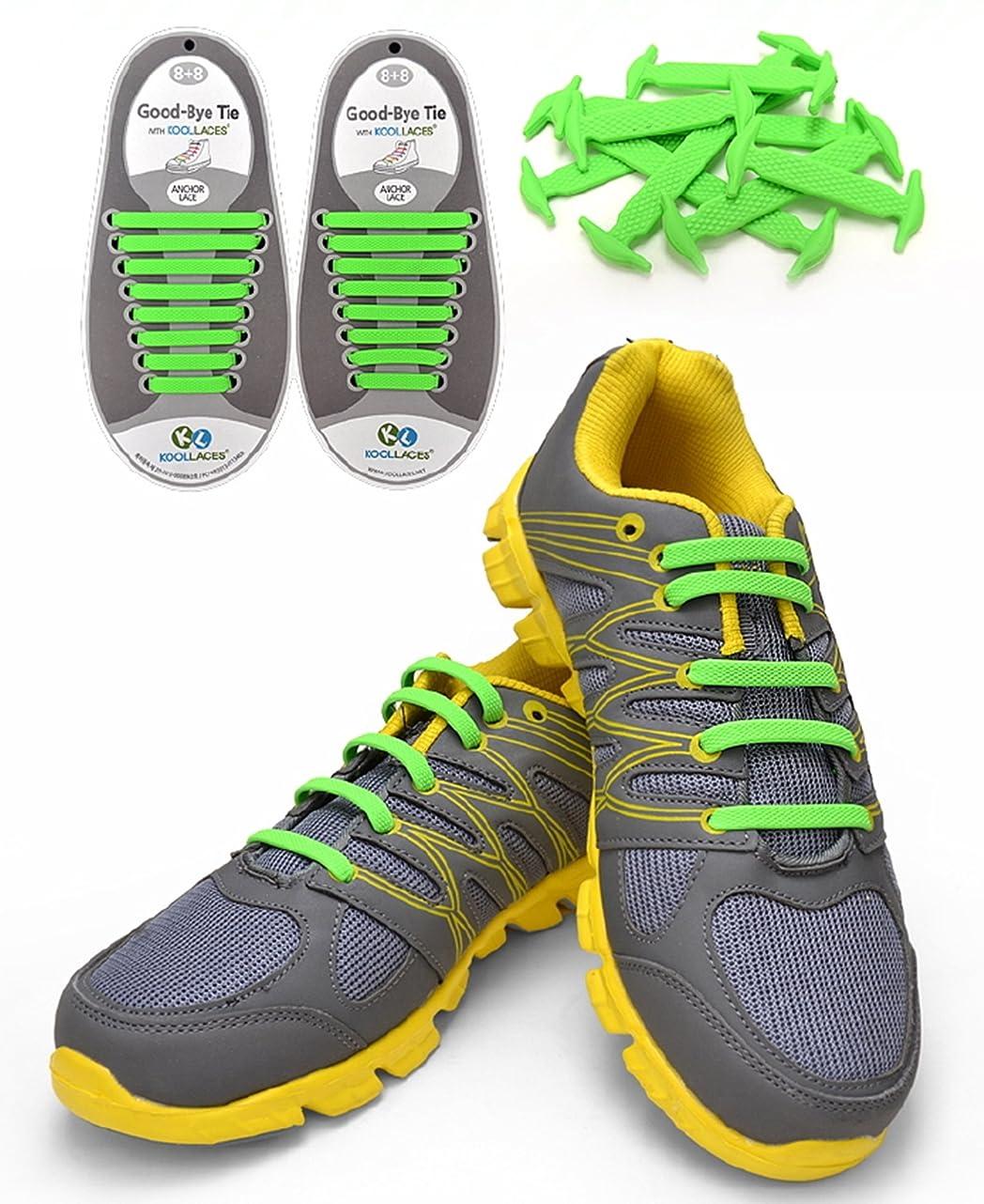 Koollaces No Tie Elastic Slip on Silicone Shoelaces,hook Type,2set=16 Pcs (Green) rhy881365861783