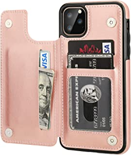 iPhone 11 Pro Max Wallet Case with Card Holder,OT ONETOP PU Leather Kickstand Card Slots Case,Double Magnetic Clasp and Durable Shockproof Cover for iPhone 11 Pro Max 6.5 Inch(Rose Gold)