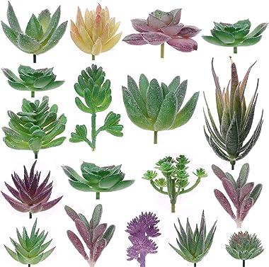 Aiboria Lot de 18 plantes succulentes artificielles sans pot - Décoration d'intérieur et d'extérieur - Imitation jute