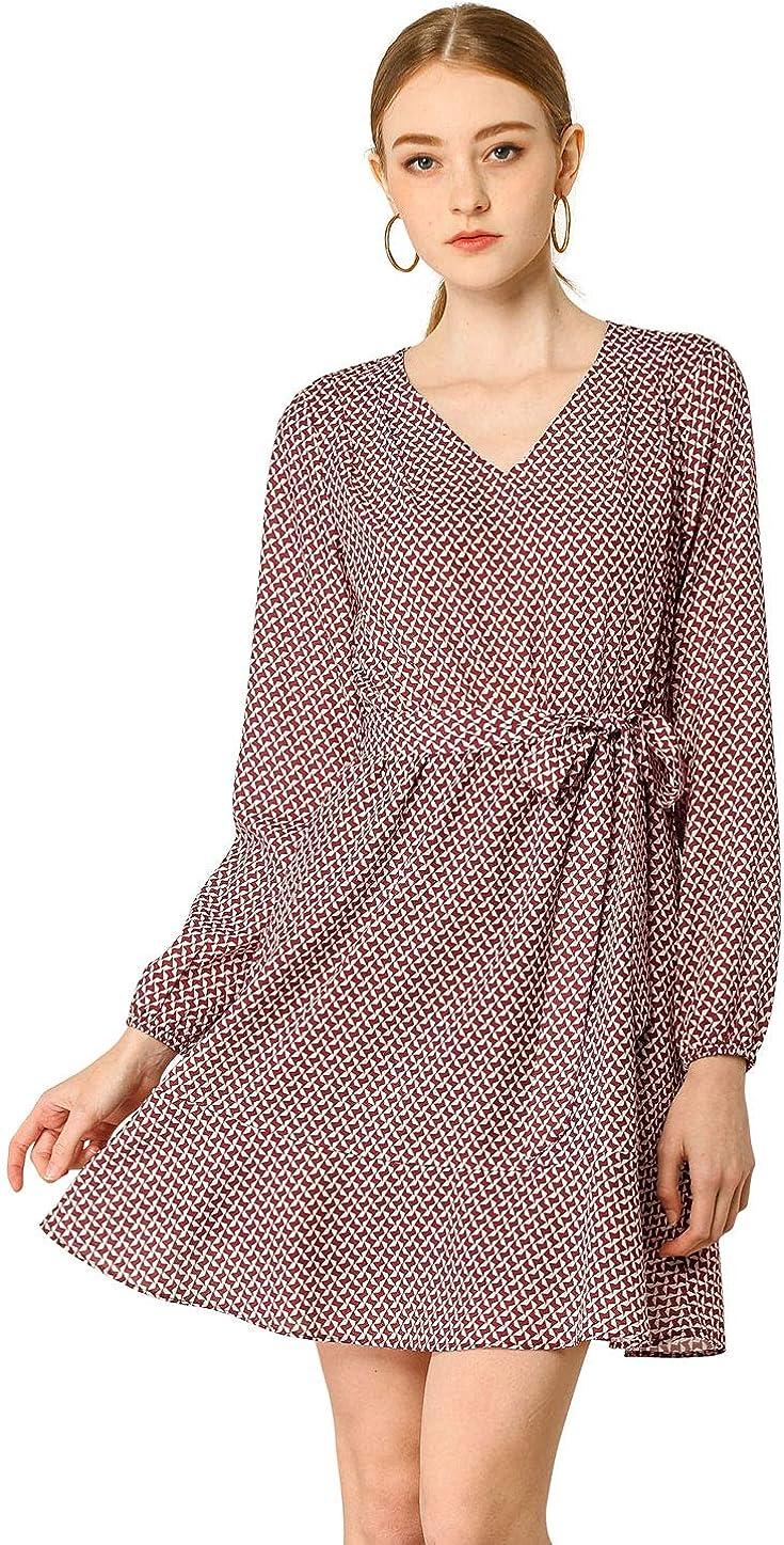 Allegra K Women's Casual Long Sleeve A-line Dresses Geometric Pattern Belted Ruffle Hem Dress