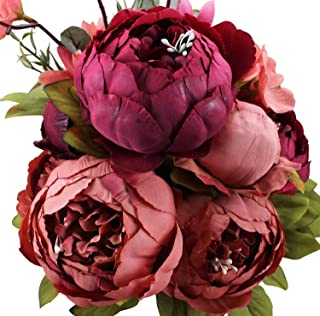 Duovlo Fake Flowers Vintage Artificial Peony Silk Flowers Wedding Home Decoration,Pack of 1 (New Red)