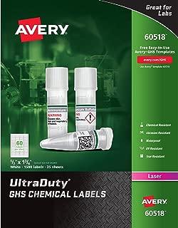Avery UltraDuty GHS Chemical Labels for Laser Printers, Waterproof, UV Resistant, 0.5