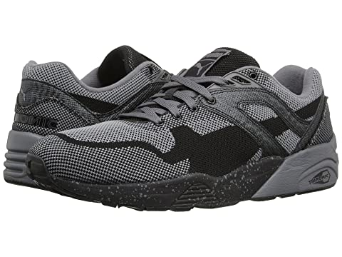 Mens Shoes PUMA R698 Knit Mesh Splatter Black/Steel Grey